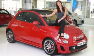 TV star and model Melanie Sykes with her new Abarth 500C