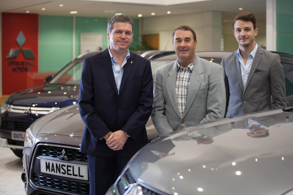 Mistubishi MD Lance Bradley with Nigel and Leo Mansell
