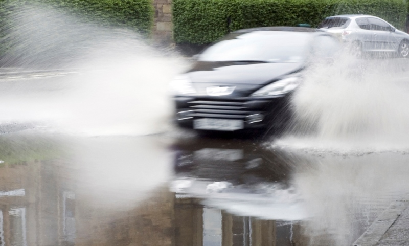 aquaplaning danger - check your car tyres