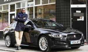 Idris Elba with a Jaguar XE