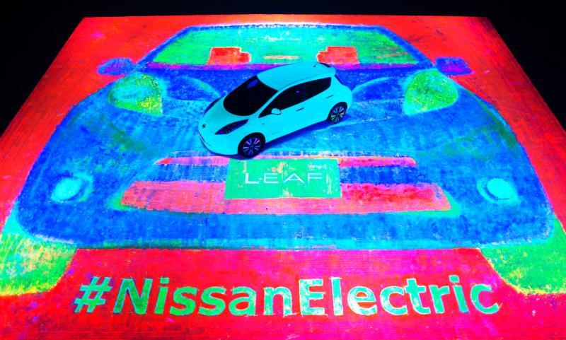 Glow-in-the-dark Nissan LEAF paining