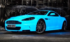 Glow in the dark Aston Martin Gumball3000 Rally