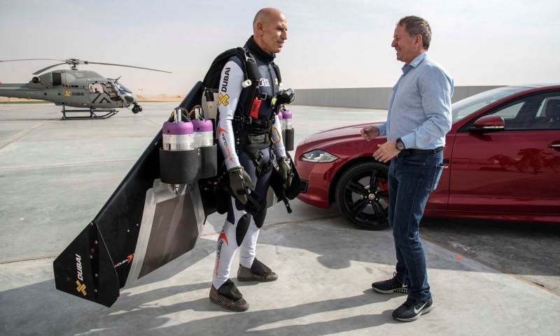 F1 star Martin Brundle and Jetman Yves Rossy