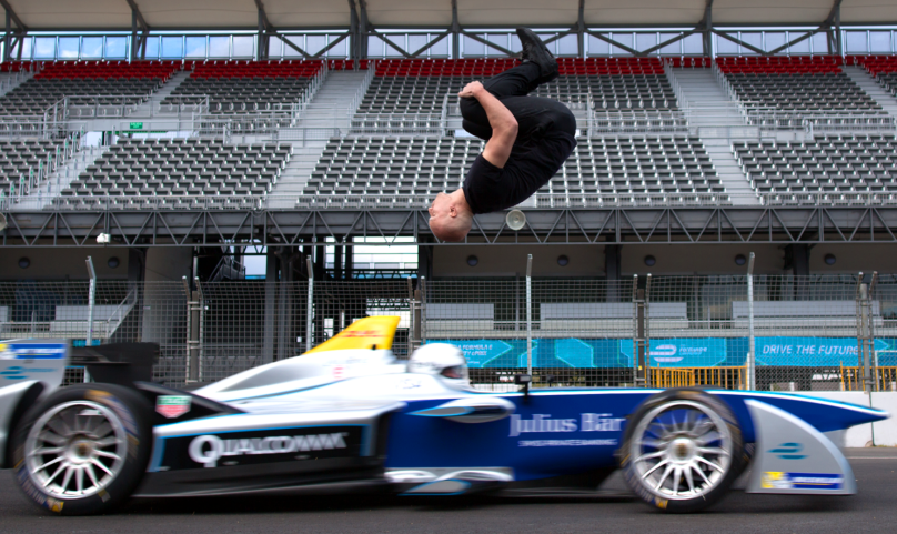 Formula E backflip stunt
