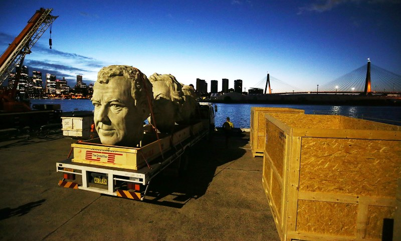 Giant stone heads of The Grand Tour presenters Jeremy Clarkson, James May and Richard Hammond brought Sydney to a standstill