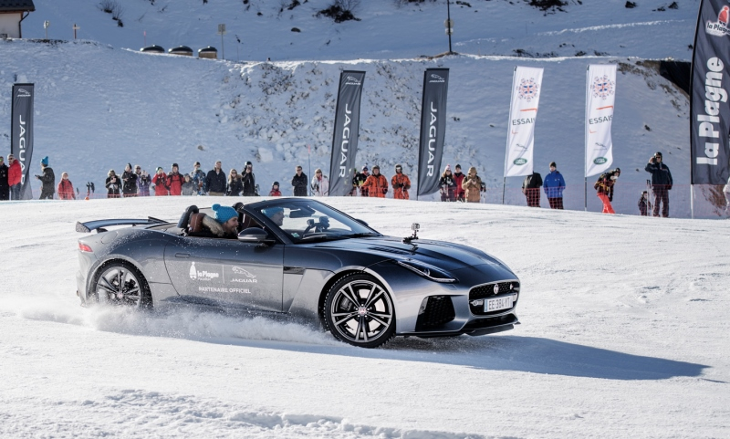 Romain Grosjean drifting at La Plagne