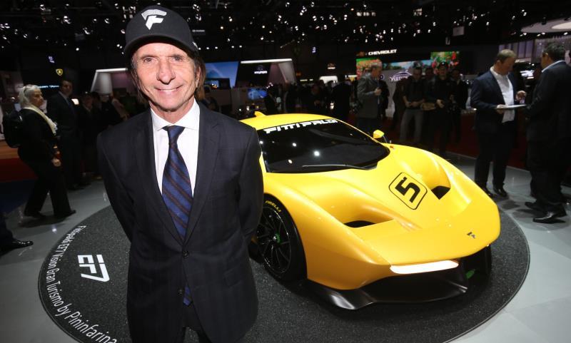 Emerson Fittipaldi with his Fittipaldi EF7 Vision Gran Turismo by Pininfarina