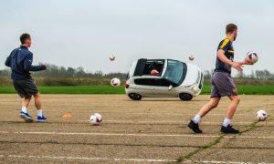 Arsenal players Citroen target practice