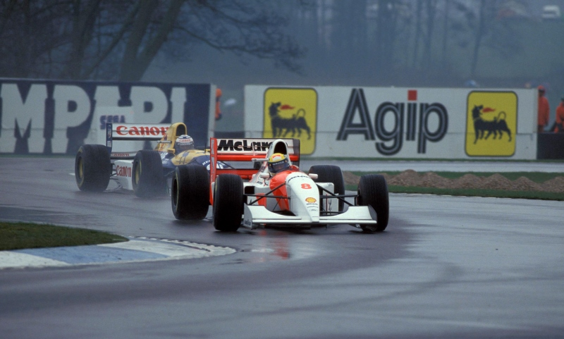 Donington, European GP, 1993. Senna passes four drivers to take the lead during the first lap PHOTO ERCOLE COLOMBO