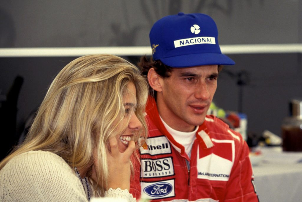 Silverstone, British GP, 1993. Ayrton Senna with Adriane Galisteu PHOTO ERCOLE COLOMBO