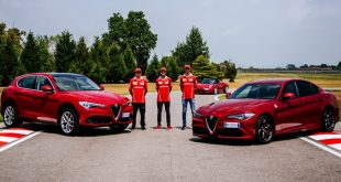 Ferrari F1 drivers and the Alfa Romeo Quadrifoglio