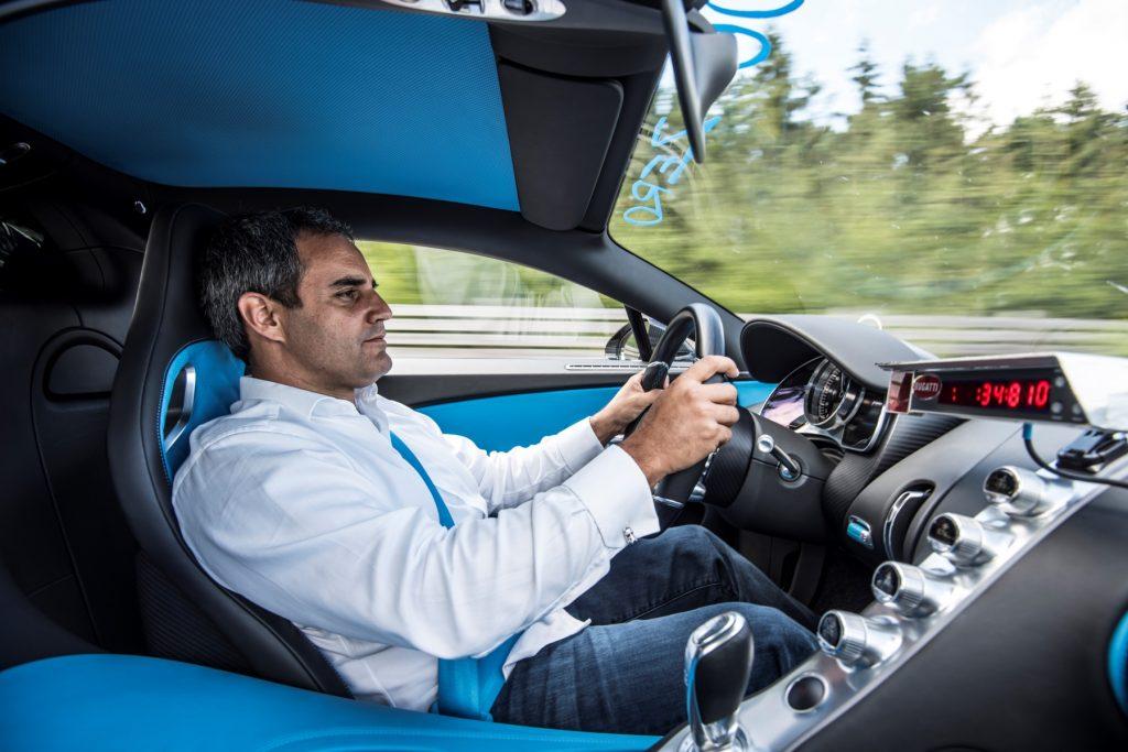 Juan Pablo Montoya drives the Bugatti Chiron