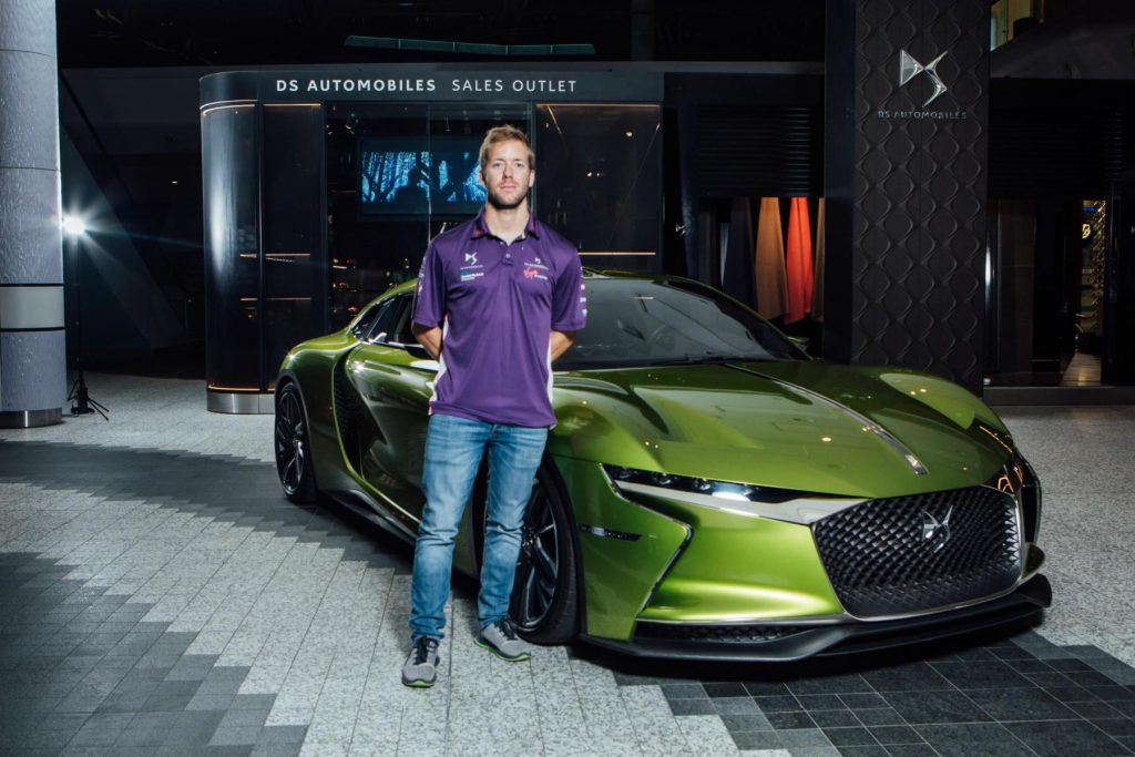Sam Bird with DS E-Tense at DS Urban Store in Westfield London