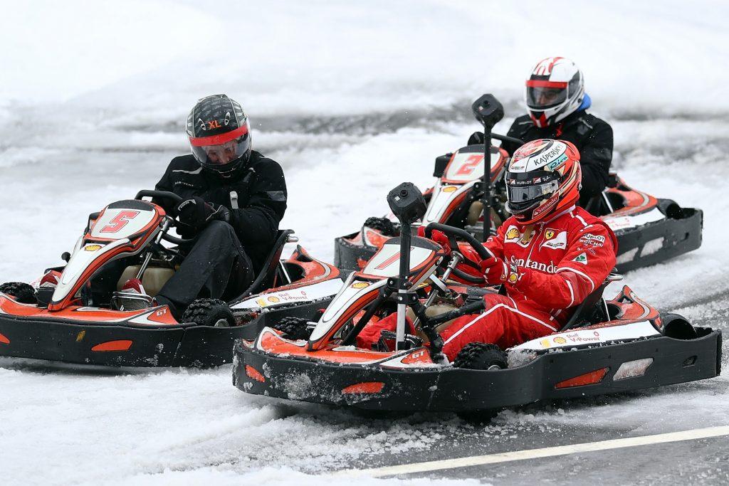 Ferrari driver Kimi Räikkönen ice karting