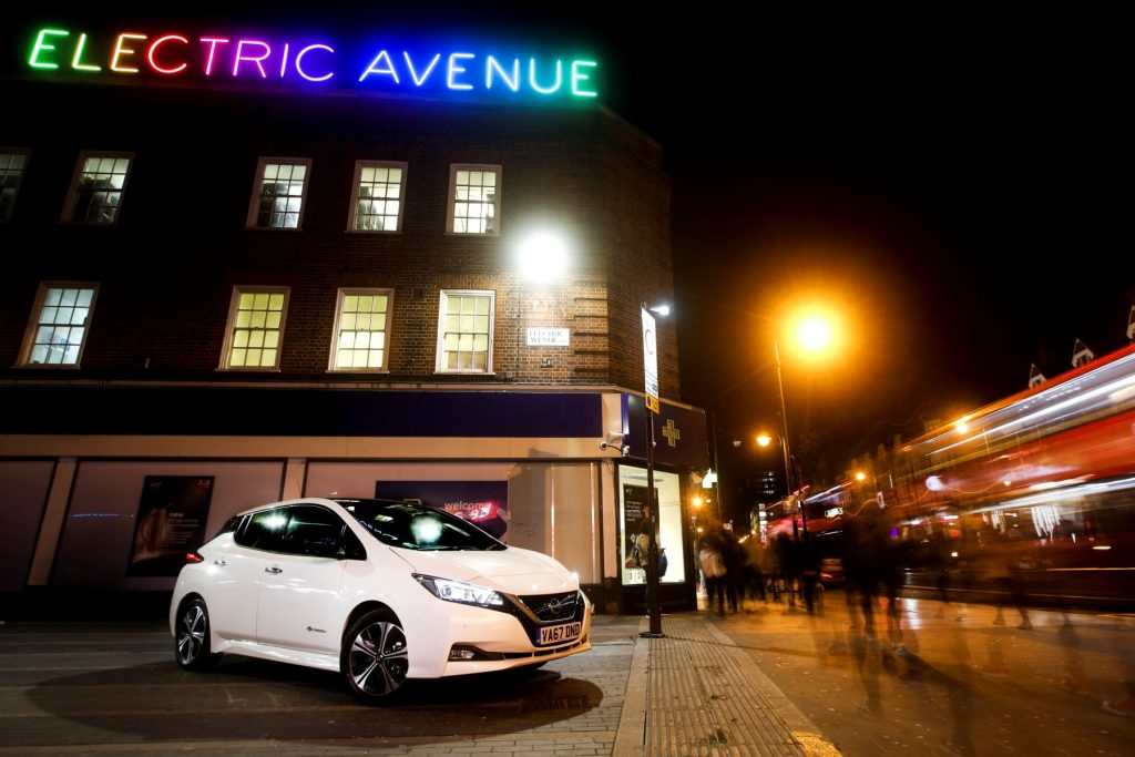 Nissan Leaf parked at Electric Avenue