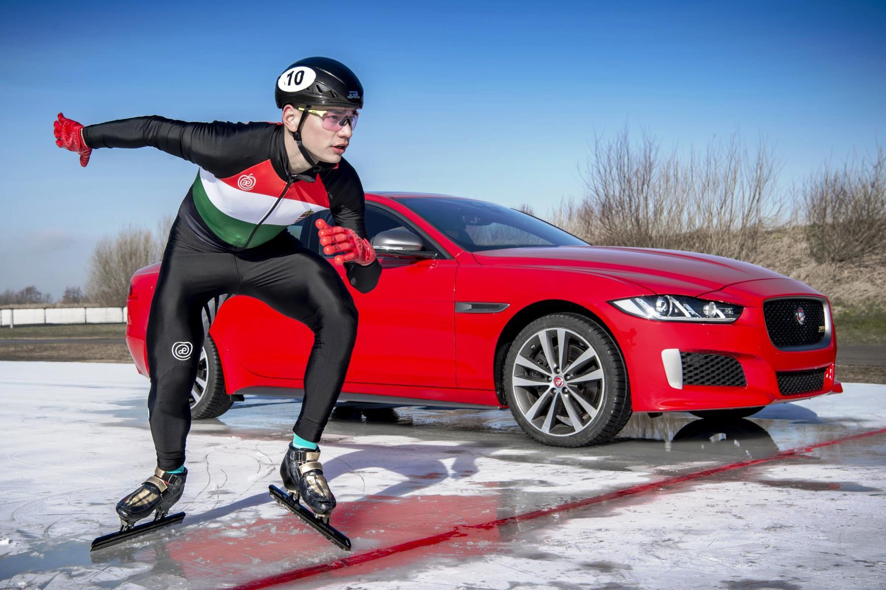 Jaguar XE 300 Sport vs Olympic speed skater