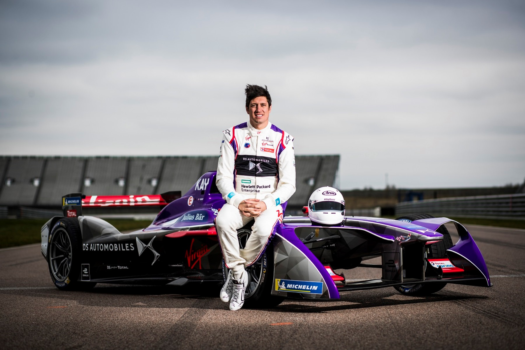 Vernon Kay beside the DS Virgin Racing team's Formula E car