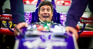 Vernon Kay inside the DS Virgin Racing team's Formula E car