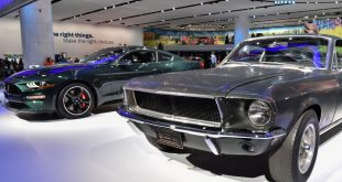 """An all-new 2019 Mustang BULLITT shares the stage with the original 1968 Mustang GT that starred with Steve McQueen in the movie """"Bullitt"""""""