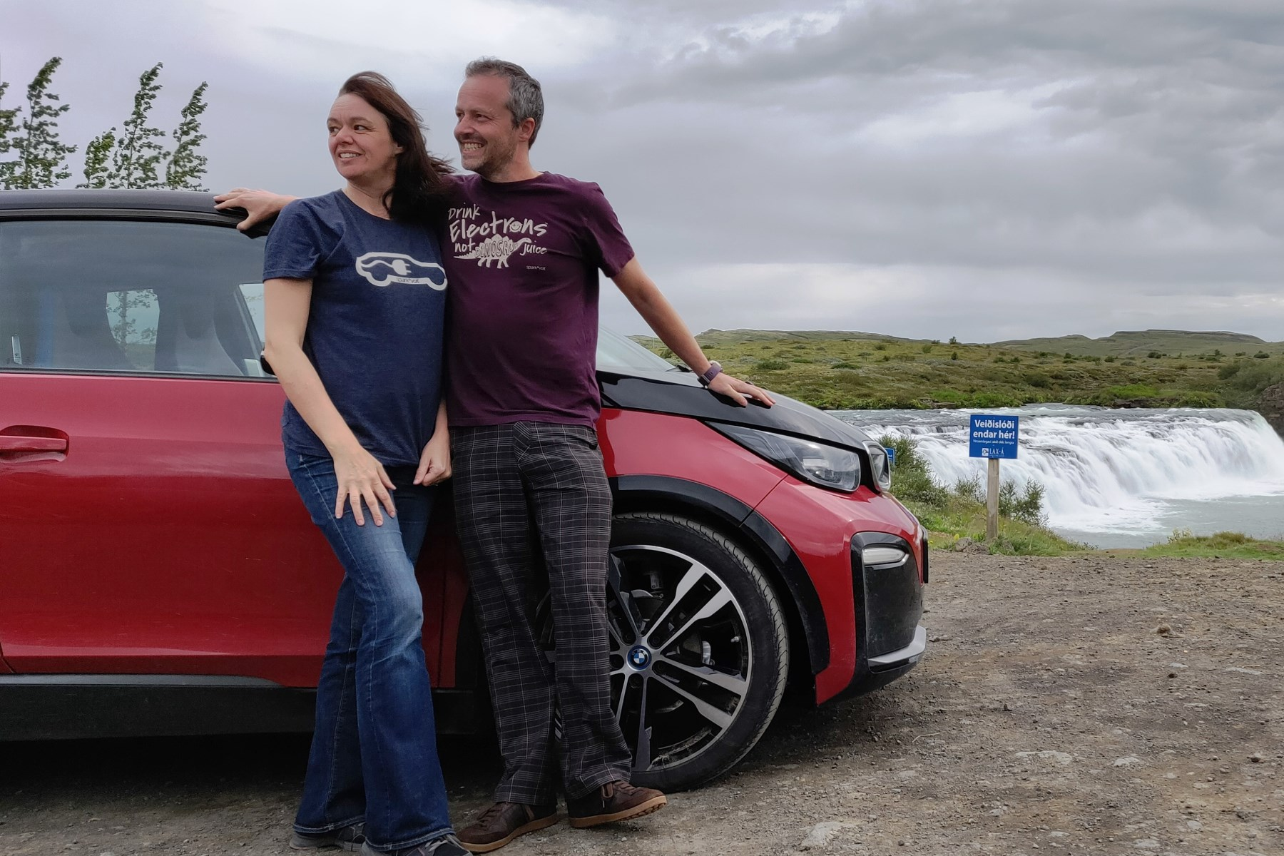 Natalie and Rob Carswell are believed to be the first couple from the UK to complete Iceland's Route One in an electric car